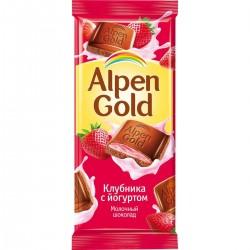"""Шоколад """"Альпен Голд"""" йогурт/клубника 90 гр."""