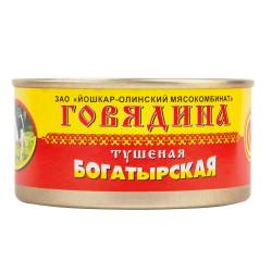 """Говядина тушеная БОГАТЫРСКАЯ ж/б """"Йошкар-Ола"""" 325 гр."""